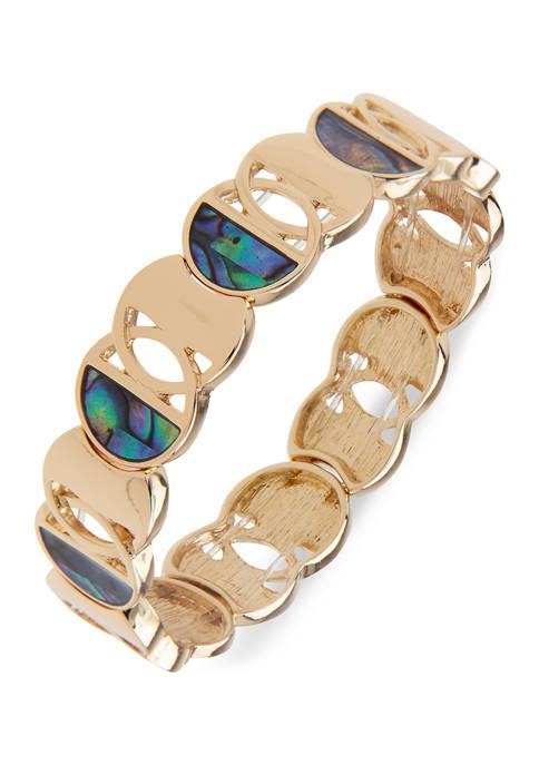 Chaps Gold Tone Circle Stretch Bracelet