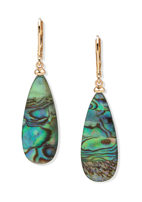 Gold Tone Large Stone Drop Lever Back Earrings
