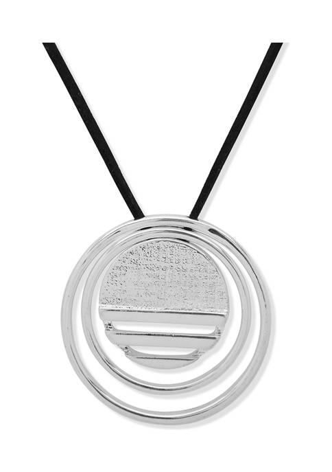 Chaps Silver Tone Jet Circle Pendant Necklace