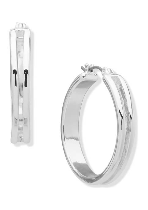 Chaps Silver Tone Click-It Hoop Earrings
