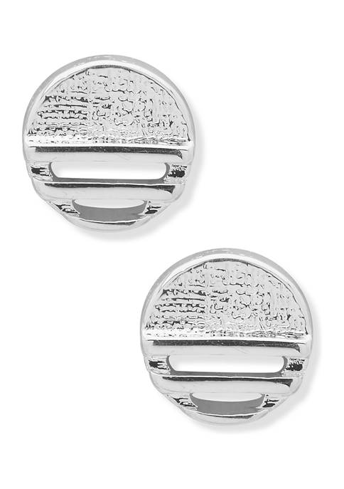 Chaps Silver Tone Circle Button Stud Earrings