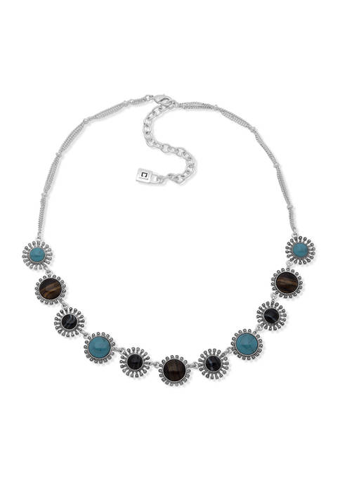 16 Inch Silver Tone Frontal Necklace