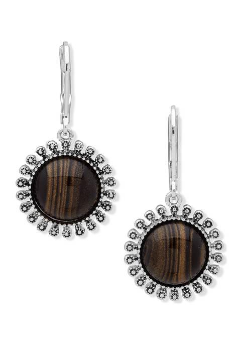 Silver Tone Small Brown Drop Earrings