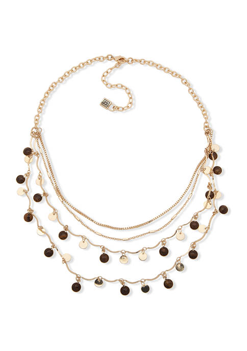 16 Inch Gold Tone Shaky Multi-Row Necklace