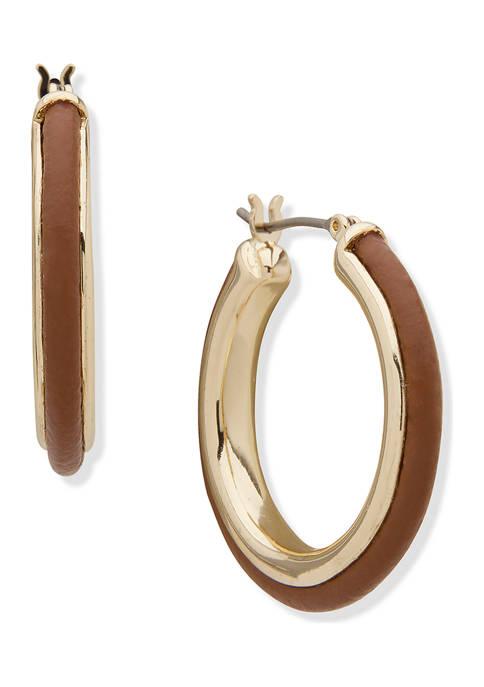 Chaps Gold Tone Brown Click-It Hoop Earrings