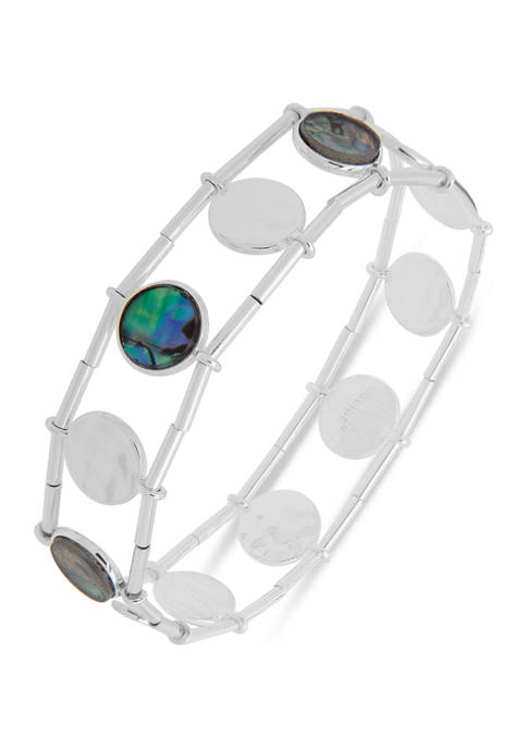 Silver Tone Open Circle Stretch Bracelet