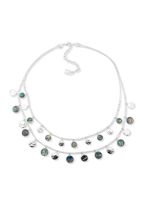 Silver Tone 16 Inch Shaky Multirow Necklace