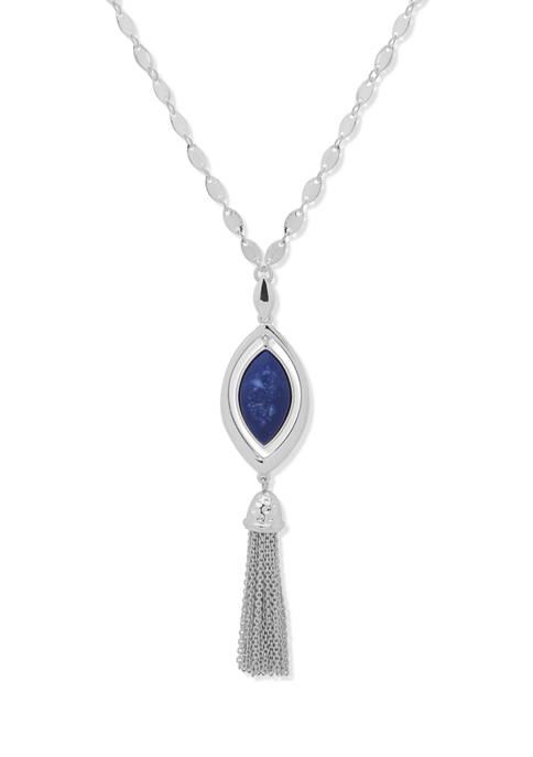 Chaps Silver Tone Blue Navette Long Pendant Necklace
