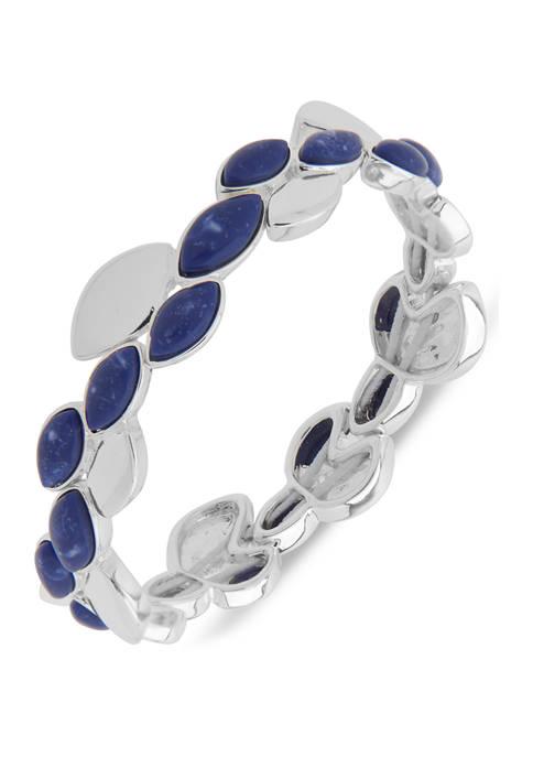 Chaps Silver Tone Blue Navette Stretch Bracelet