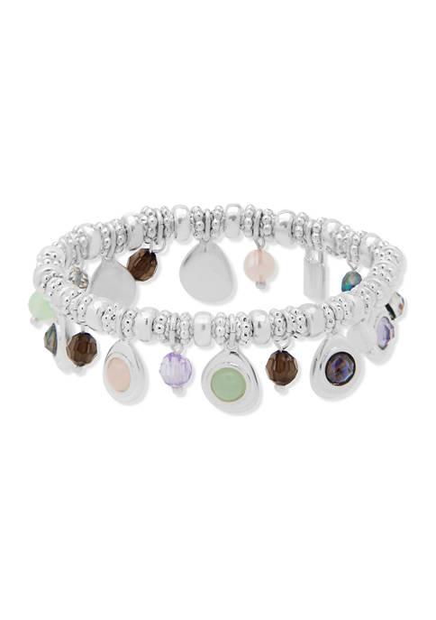 Chaps Silver Tone Multi Shaky Stretch Bracelet