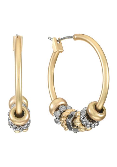 Chaps Tri-Tone Beaded Click-It Hoop Earrings