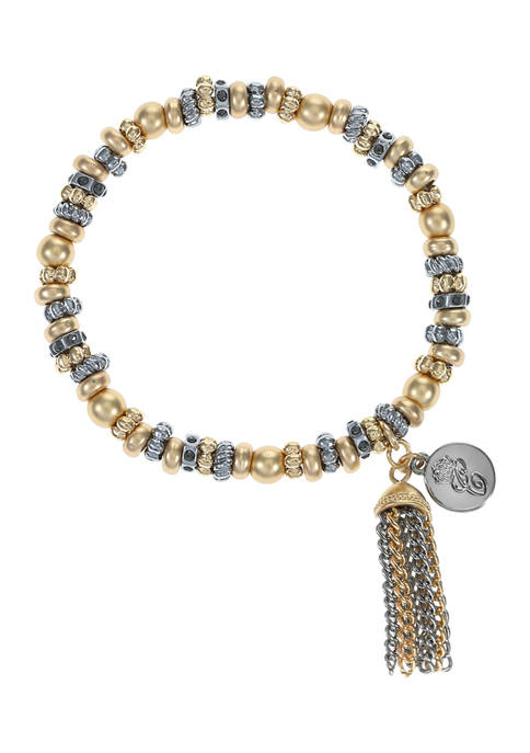 Chaps Tri-Tone Beaded Casting Stretch Bracelet