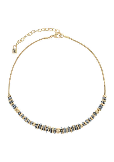 Chaps Tri-Tone Beaded Frontal Necklace