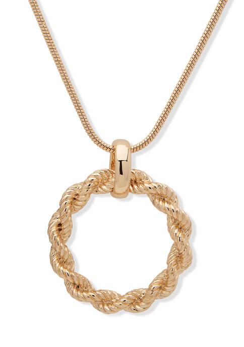 Chaps Gold Tone Circle Pendant Necklace