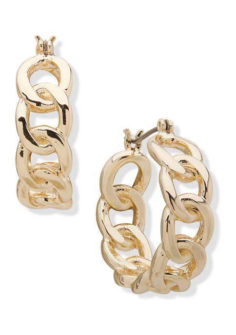 Chaps Gold Tone Link Click It Hoop Earrings