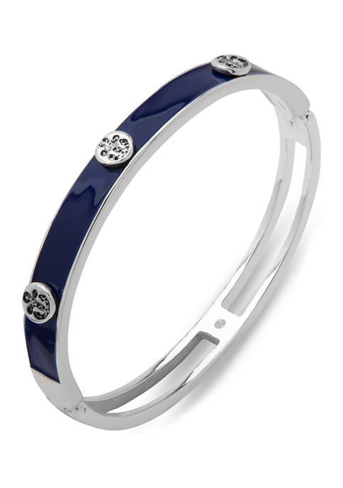 Chaps Silver Tone Blue Detailed Bangle Bracelet