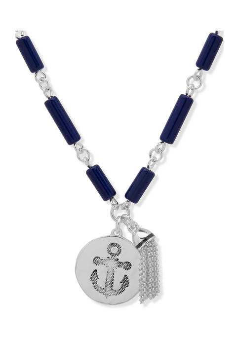 Chaps Silver Tone Blue 28 Inch Charm Link
