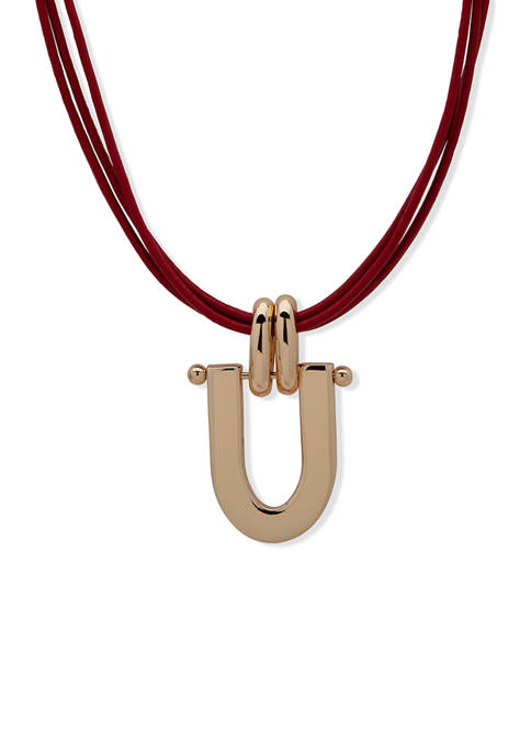 Chaps Gold Tone Metal and Leather Pendant Necklace
