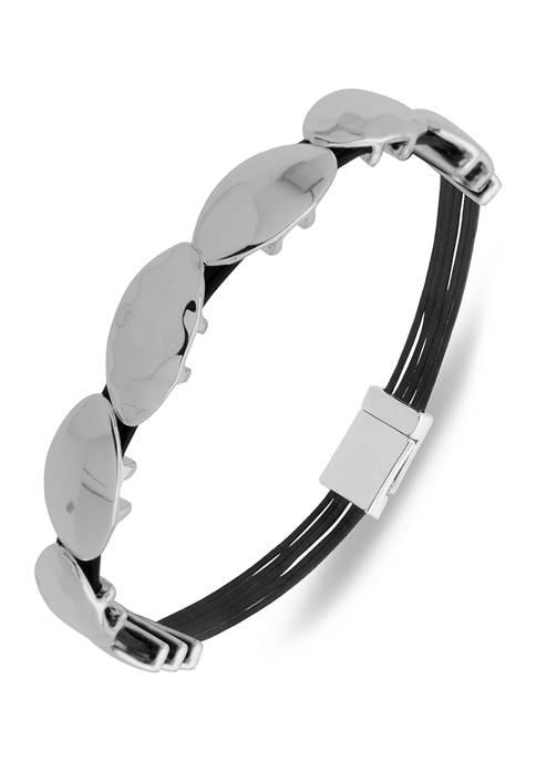 Chaps Silver Tone Leather Magnetic Wrap Bracelet