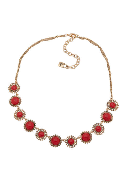 Chaps 16 Inch Gold Tone Coral Frontal Necklace