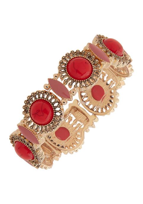 Chaps Gold Tone Coral Stone Stretch Bracelet
