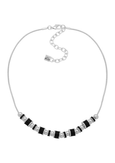 Chaps 16 Inch Silver-Tone Black Bead Frontal Necklace