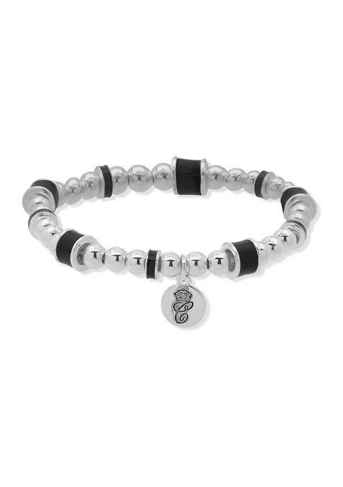 Chaps Silver Tone Black Bead Wrap Bracelet
