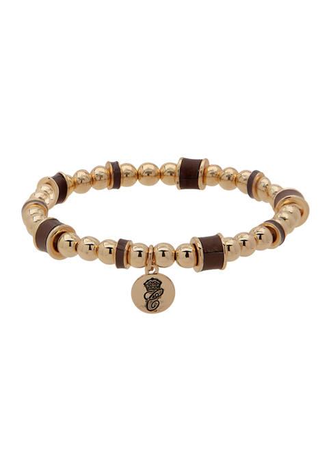 Chaps Gold Tone Brown Bead Wrap Bracelet