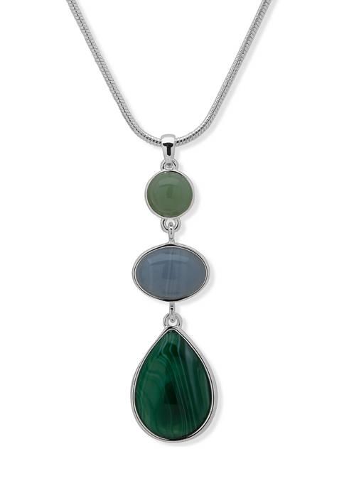 Chaps Silver Tone Blue Green 16 Inch Stone