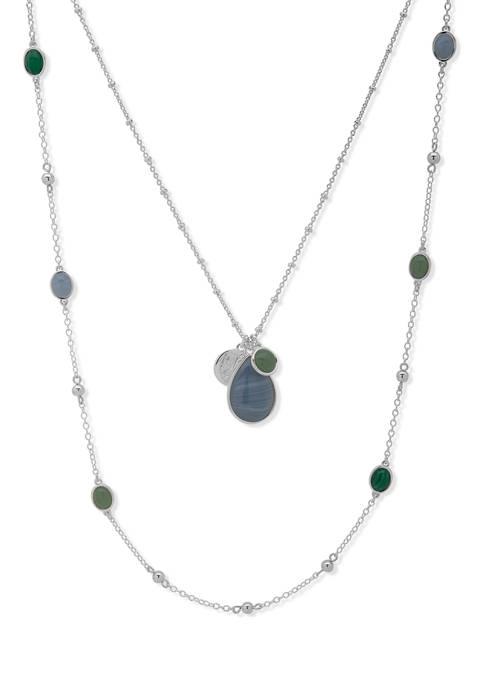 Chaps Silver Tone Blue Green Stone Multi Row