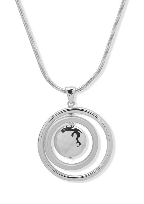 Chaps Silver Tone 32 Inch Circle Pendant Necklace
