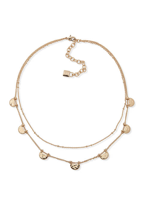 Chaps Gold Tone Small Multi Row Necklace