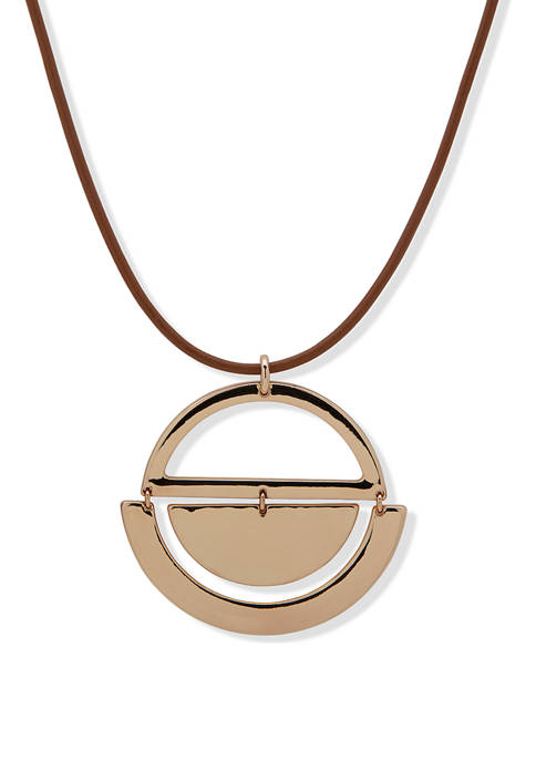 Gold Tone Leather 32 Inch Moon Pendant Necklace