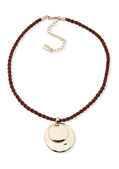 Chaps Gold Tone Cognac 16 Inch Rope Pendant
