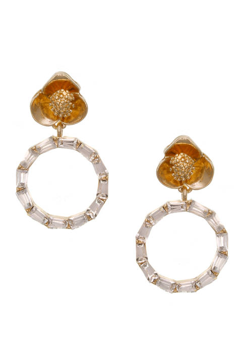 Gold Tone Floral Top Post Earrings with Crystal Baguette Stone Ring Drop