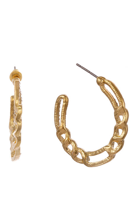 Gold Tone Frozen Chain Post Earrings with Crystal Stones