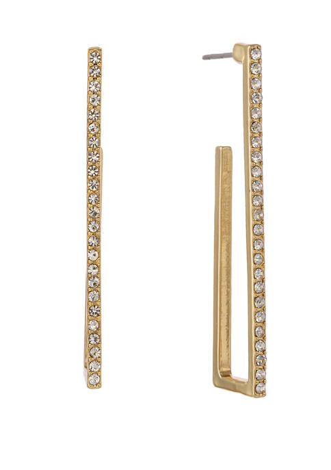 Christian Siriano Gold Tone Post Linear Hoop Earrings