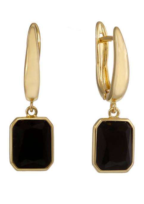 Christian Siriano Gold Tone Hoop Earrings with Black