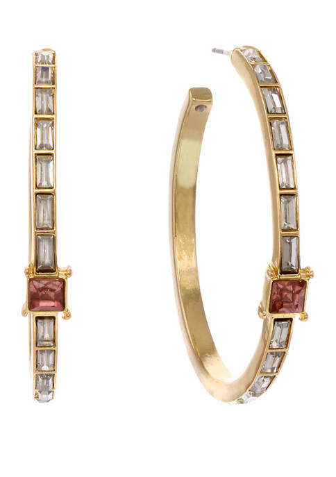 Gold Tone Hoop Earrings with Crystal Baguette Chanel Stones and Center Square Pink Stone