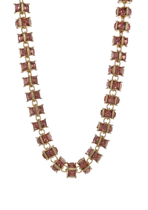 Christian Siriano Gold Tone Necklace with Pink Faceted