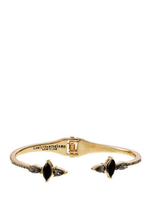 Christian Siriano Gold Tone Hinge Bracelet with Black
