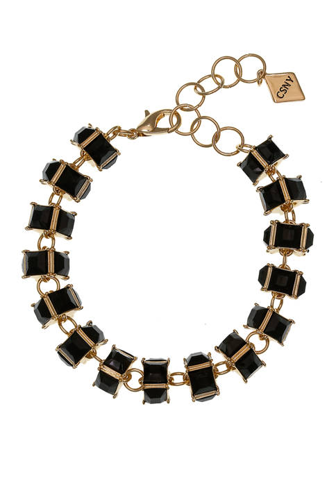 Gold Tone Bracelet with Black Faceted Rondell Stones