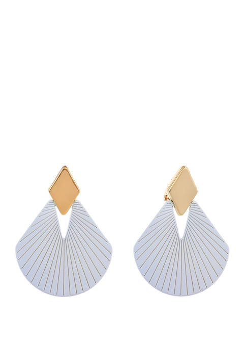 Christian Siriano Gold Tone and Blue Fan Drop