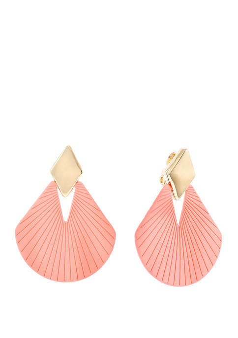 Christian Siriano Gold Tone and Pink Fan Drop
