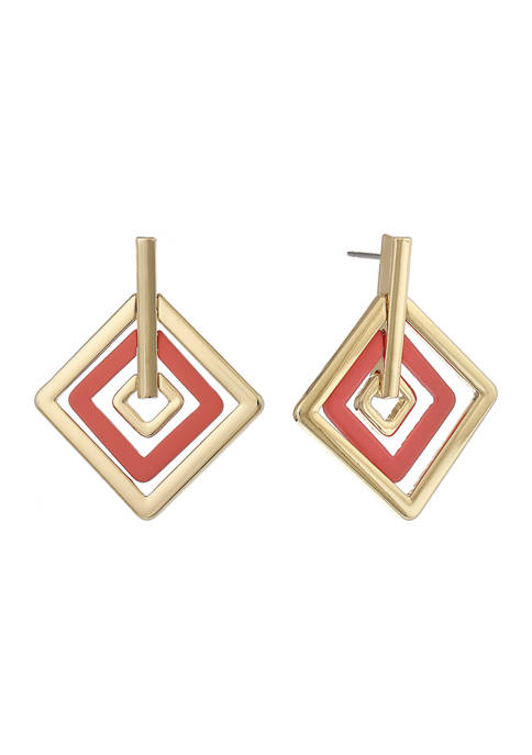 Gold Tone and Pink Diamond Shape Drop Earrings