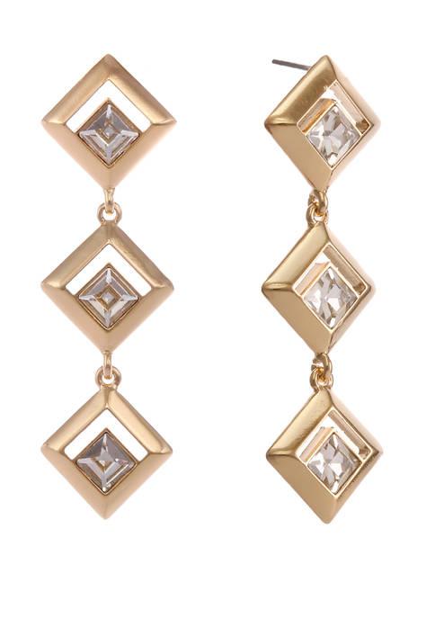 Christian Siriano Gold Tone Diamond Shape Linear Earrings