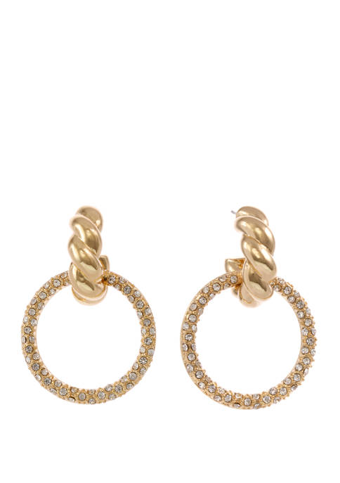 Gold Tone Drop Earrings with Crystal Stone Studded Ring
