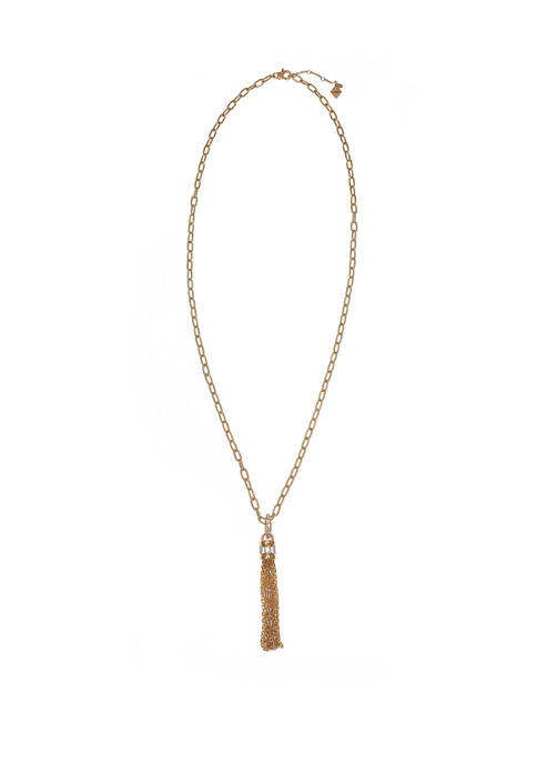 Gold Tone Tassel Necklace with Baguette Stone Accents