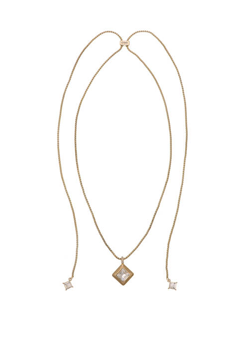 Christian Siriano Gold Tone Slider Pendant Necklace