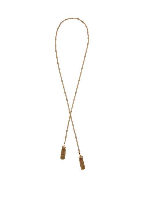 Christian Siriano Gold Tone Lariat Tassel Necklace